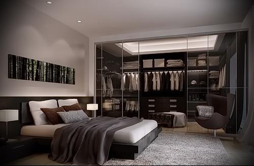 Спальня с гардеробной комнатой дизайн фото