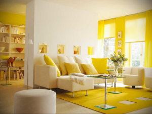желтый цвет в интерьере гостиной 09.10.2019 №001 -yellow in interior- design-foto.ru