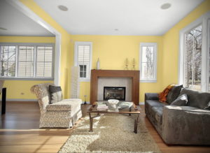 желтый цвет в интерьере гостиной 09.10.2019 №003 -yellow in interior- design-foto.ru