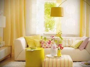 желтый цвет в интерьере гостиной 09.10.2019 №006 -yellow in interior- design-foto.ru