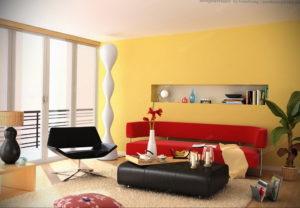 желтый цвет в интерьере гостиной 09.10.2019 №007 -yellow in interior- design-foto.ru