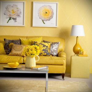 желтый цвет в интерьере гостиной 09.10.2019 №009 -yellow in interior- design-foto.ru