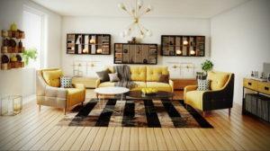 желтый цвет в интерьере гостиной 09.10.2019 №015 -yellow in interior- design-foto.ru