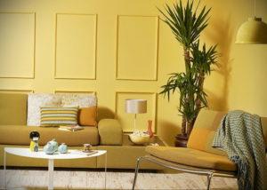 желтый цвет в интерьере гостиной 09.10.2019 №017 -yellow in interior- design-foto.ru