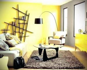 желтый цвет в интерьере гостиной 09.10.2019 №026 -yellow in interior- design-foto.ru