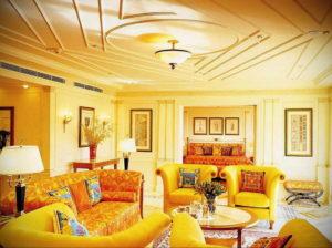 желтый цвет в интерьере гостиной 09.10.2019 №028 -yellow in interior- design-foto.ru