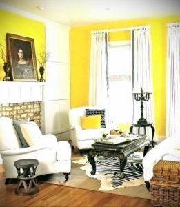 желтый цвет в интерьере гостиной 09.10.2019 №029 -yellow in interior- design-foto.ru