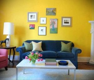 желтый цвет в интерьере гостиной 09.10.2019 №030 -yellow in interior- design-foto.ru
