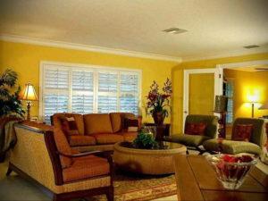 желтый цвет в интерьере гостиной 09.10.2019 №031 -yellow in interior- design-foto.ru