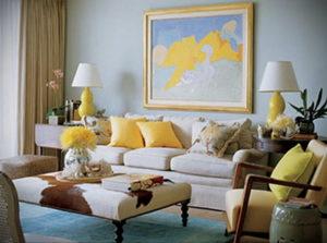 желтый цвет в интерьере гостиной 09.10.2019 №040 -yellow in interior- design-foto.ru