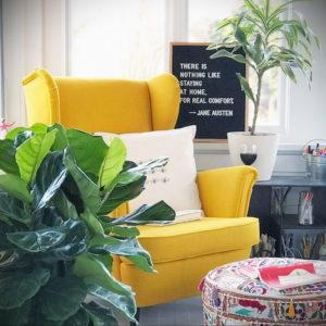 желтый цвет в интерьере гостиной 09.10.2019 №041 -yellow in interior- design-foto.ru