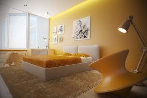 желтый цвет в интерьере спальни 09.10.2019 №008 -yellow in interior- design-foto.ru