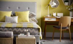 желтый цвет в интерьере спальни 09.10.2019 №043 -yellow in interior- design-foto.ru