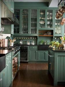 зеленая кухня в интерьере 06.10.2019 №007 -green in the interior- design-foto.ru