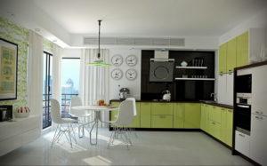 зеленая кухня в интерьере 06.10.2019 №011 -green in the interior- design-foto.ru