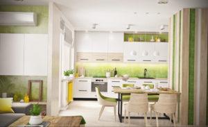 зеленая кухня в интерьере 06.10.2019 №013 -green in the interior- design-foto.ru