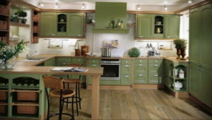 зеленая кухня в интерьере 06.10.2019 №019 -green in the interior- design-foto.ru