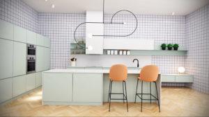 зеленая кухня в интерьере 06.10.2019 №027 -green in the interior- design-foto.ru