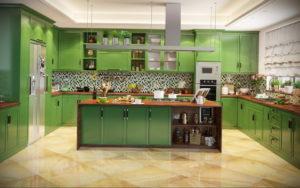 зеленая кухня в интерьере 06.10.2019 №028 -green in the interior- design-foto.ru