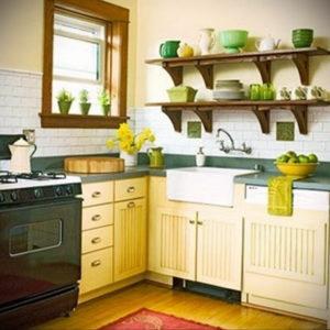 зеленая кухня в интерьере 06.10.2019 №045 -green in the interior- design-foto.ru
