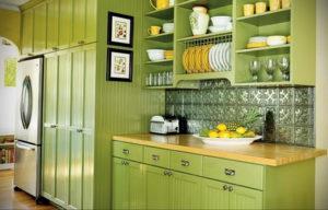 зеленая кухня в интерьере 06.10.2019 №049 -green in the interior- design-foto.ru