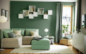 зеленая стена в интерьере 06.10.2019 №047 -green in the interior- design-foto.ru