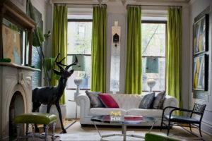 зеленые шторы в интерьере 06.10.2019 №017 -green in the interior- design-foto.ru