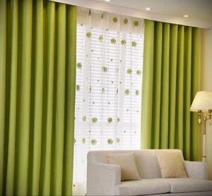 зеленые шторы в интерьере 06.10.2019 №018 -green in the interior- design-foto.ru