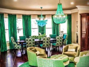 зеленые шторы в интерьере 06.10.2019 №039 -green in the interior- design-foto.ru