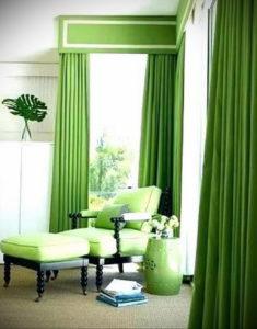 зеленые шторы в интерьере 06.10.2019 №045 -green in the interior- design-foto.ru