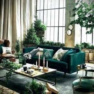 зеленый диван в интерьере 06.10.2019 №008 -green in the interior- design-foto.ru