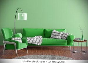 зеленый диван в интерьере 06.10.2019 №016 -green in the interior- design-foto.ru