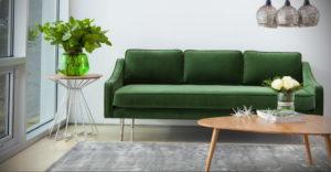 зеленый диван в интерьере 06.10.2019 №020 -green in the interior- design-foto.ru