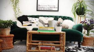 зеленый диван в интерьере 06.10.2019 №027 -green in the interior- design-foto.ru