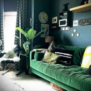 зеленый диван в интерьере 06.10.2019 №032 -green in the interior- design-foto.ru