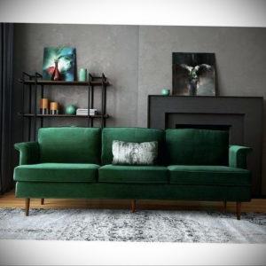 зеленый диван в интерьере 06.10.2019 №033 -green in the interior- design-foto.ru