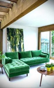 зеленый диван в интерьере 06.10.2019 №044 -green in the interior- design-foto.ru