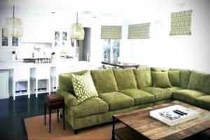 зеленый диван в интерьере 06.10.2019 №045 -green in the interior- design-foto.ru
