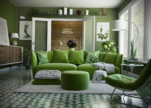 зеленый интерьер гостиной 06.10.2019 №006 -green in the interior- design-foto.ru
