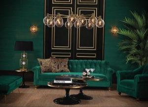 зеленый интерьер гостиной 06.10.2019 №010 -green in the interior- design-foto.ru