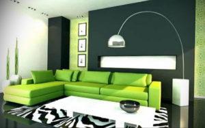 зеленый интерьер гостиной 06.10.2019 №013 -green in the interior- design-foto.ru