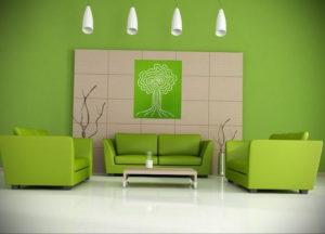 зеленый интерьер гостиной 06.10.2019 №014 -green in the interior- design-foto.ru