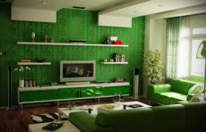 зеленый интерьер гостиной 06.10.2019 №015 -green in the interior- design-foto.ru