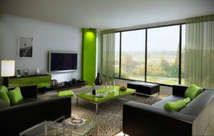 зеленый интерьер гостиной 06.10.2019 №016 -green in the interior- design-foto.ru