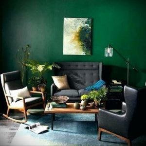 зеленый интерьер гостиной 06.10.2019 №017 -green in the interior- design-foto.ru