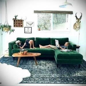 зеленый интерьер гостиной 06.10.2019 №026 -green in the interior- design-foto.ru