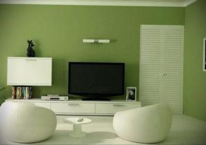 зеленый интерьер гостиной 06.10.2019 №036 -green in the interior- design-foto.ru