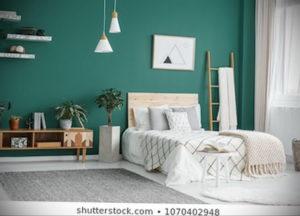 зеленый интерьер спальни 06.10.2019 №011 -green in the interior- design-foto.ru