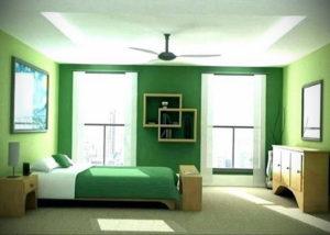зеленый интерьер спальни 06.10.2019 №016 -green in the interior- design-foto.ru