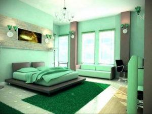 зеленый интерьер спальни 06.10.2019 №033 -green in the interior- design-foto.ru